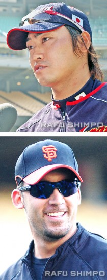 Norichika Aoki (top) and Travis Ishikawa are hoping to extend their teams' seasons into the weekend. (File photos by Mikey Hirano Culross)