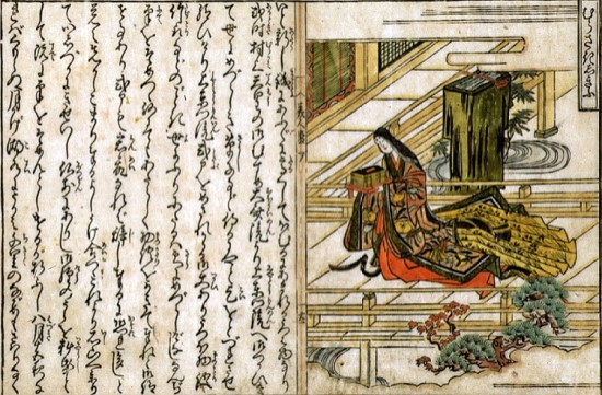 """Attributed to Okumura Masanobu (1686-1764), published by Yorozuya Seibei and Yorozuya Hikotaro. """"Murasaki Shikibu,"""" from the book """"Mirror of Beauties,"""" 1709. Hand-colored woodblock print; ink and color on paper. 11 7/8 x 7 13/16. Scripps College Collections. Gift of Mrs. James W. Johnson, 46.1.76."""