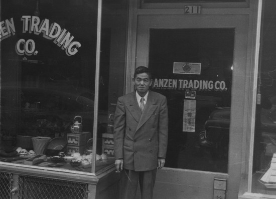 Umata Matsushima in front of Anzen Trading Company, c. 1950. (Courtesy Yoji Matsushima)