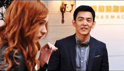 """John Cho and Karen Gillan in """"Selfie."""""""