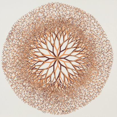 """Desert Flower,"" 1965 Ruth Asawa (American, 1926-2013) Lithograph, 2nd state Sheet: 18-1/2 x 18-1/2 in. (47.0 x 47.0 cm) Norton Simon Museum, Anonymous Gift, 1966 P.1966.07.119 © 2014 Estate of Ruth Asawa"