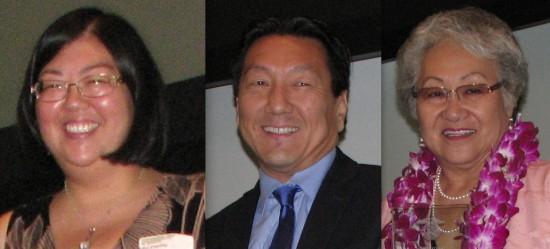 Chapter honorees Michelle Komatsu (Arizona), George Kita (Downtown L.A.), Janet Okubo (Greater L.A.).