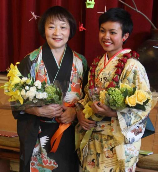 Koto master Shirley Kazuyo Muramoto and her student Isabella Lew.
