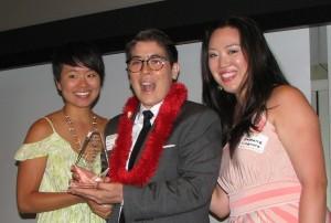 From left: traci ishigo of PSW JACL, awardee riKu Matsuda, Stephanie Nitahara of PSW JACL.