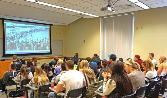 Following a class assignment to read a book about the internment, the students were fascinated to see photos from an actual World War II camp, especially since they were taken by 1948 WSU alumnus Frank C. Hirahara. (Photo by Patti Hirahara)