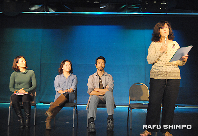 Panelists (from right) Beverly Kaneko, Yuji Kaneko, Yoko Collin, and Miki Bay shared their data and opinions regarding Fukushima nuclear issues. (RYOKO NAKAMURA/Rafu Shimpo)