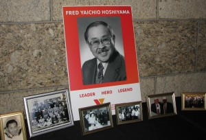 A display showed scenes from Fred Hoshiyama's life.