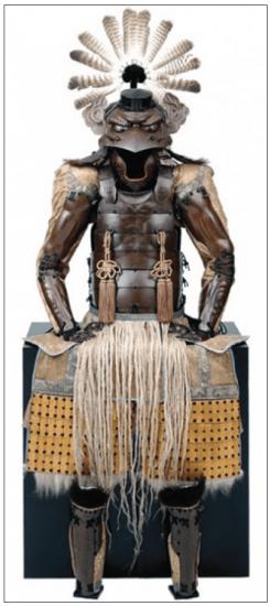 Yokohagidō tōsei gusoku. Saotome Iyuenari (helmet) and Ichiguchi Yoshikata (mask). Early to mid Edo period: 17th century (helmet); 18th century (mask and armor). © The Ann & Gabriel Barbier-Mueller Museum, Dallas. Photo by Brad Flowers