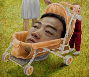 """On Holiday,"" approx. 1999, by Tetsuya Ishida (1973–2005). Acrylic on canvas. Courtesy of private collection. © Estate of Tetsuya Ishida."