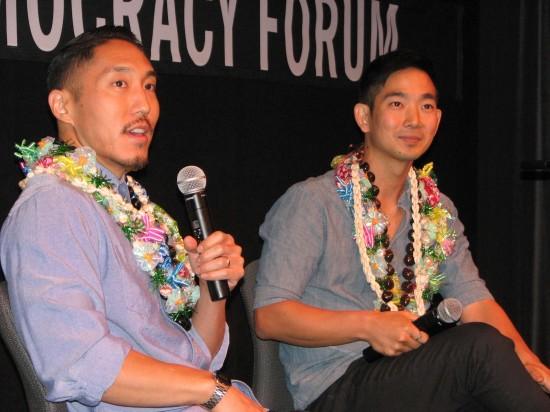 Director Tad Nakamura (left) and ukulele player Jake Shimabukuro during a post-screening Q&A. (J.K. YAMAMOTO/Rafu Shimpo)