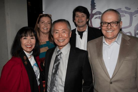 Front row: Karen Korematsu, George Takei, Brad Takei. Second row: Cecy Jones-Korematsu, Ken Korematsu.