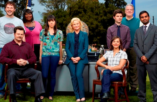 """Cast of """"Parks and Recreation"""" (Aziz Ansari is on the right)."""