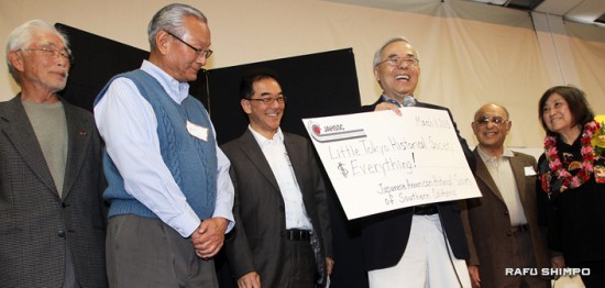 The Japanese American Historical Society of Southern California announced that it will donate its remaining assets to the Little Tokyo Historical Society. From left: Bill Shishima of JAHSSC, Bill Watanabe and of LTSC, Roy Sakamoto, Lloyd Inui and Iku Kiriyama of JAHSSC.