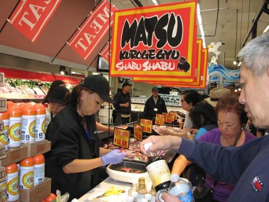 Samples of beef for shabu shabu are prepared.