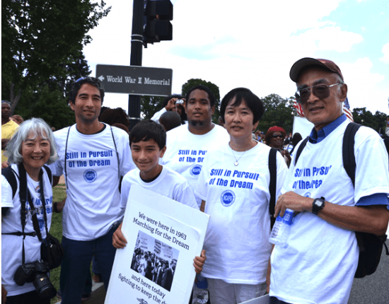 """Todd Endo and his family were in Washington, D.C. in 2013 for the 50th anniversary of the March on Washington and Martin Luther King's """"I Have a Dream"""" speech. From right: Todd Endo, sister Marsha Johnson, nephew Greg Johnson, grandson Aidan Endo, son Erik Endo, and wife Paula Endo. (Courtesy of Todd Endo via Emil Guillermo Media, www.amok.com)"""