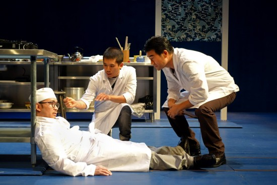 """Eddie Mui, Lawrence Kao and Ryun Yu in a scene from """"tokyo fish story."""" (Photo by"""
