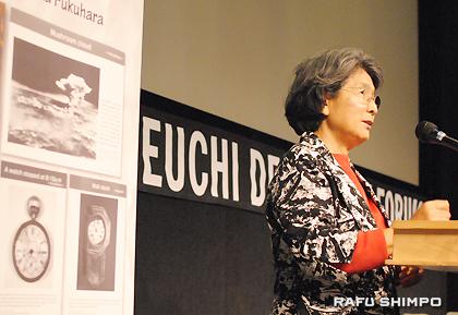 広島市内で被爆した経験を語る大竹幾久子さん