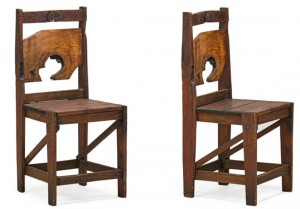 Chairs made from scrap wood, ca. 1945. (From the collection of Allen H. Eaton)