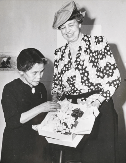 Photo by Francis Stewart of First Lady Eleanor Roosevelt visiting the Gila River camp in Arizona. (From the collection of Allen H. Eaton)