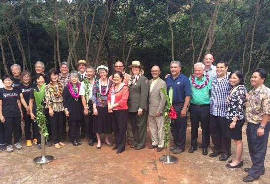 Elected officials, National Park Service staff, and Japanese American community leaders gather for the Honouliuli dedication ceremony. (Photo courtesy Priscilla Ouchida)