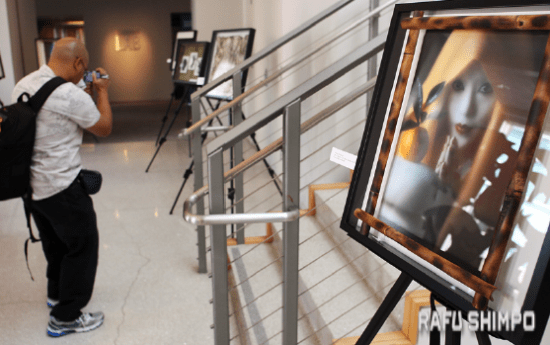 Artwork by Richard Fukuhara is displayed in the lobby of the Tateuchi Democracy Center.