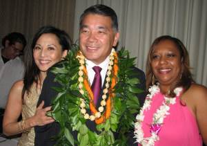 Emcee Tamlyn Tomita, Terry Hara, and Denise Williams, event organizer and senior clerk typist at West Bureau LAPD.