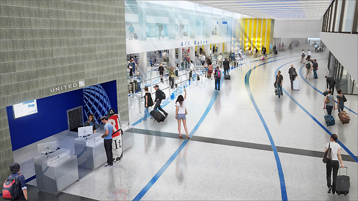 ユナイテッド航空の手荷物検査所前の完成予想図(写真=ユナイテッド航空提供)