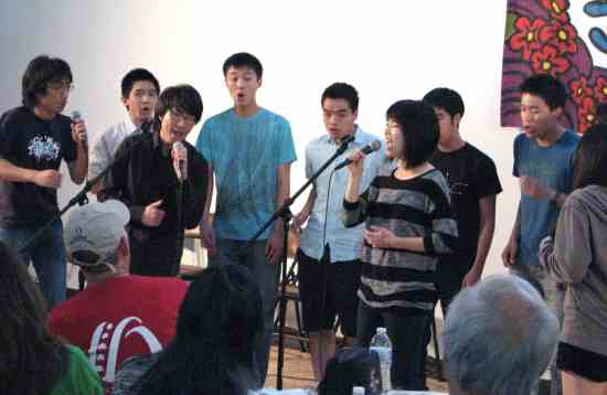Second Sunday performers included an a cappella group from Berkeley, MEAN (Members Even After NiCE), made up of alumni from NiCE (Nikkei Choral Ensemble).
