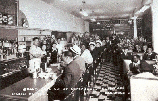 Photo of the remodeled Sun Cafe interior in 1941. The Obayashi family, which owned the restaurant, were forced to leave San Diego along with 2,000 local Nikkei, many of whom ended up in Poston, Ariz. for the duration of the war. (Photo courtesy of Japanese American Historical Society of San Diego)
