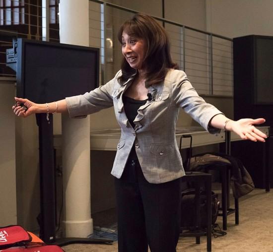 Keynote speaker Vanna Novak discusses body language. (Photo by Kelley Rich)