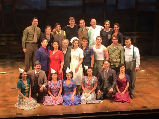"""The cast of """"Allegiance,"""" which is currently in previews at the Longacre Theatre in New York."""
