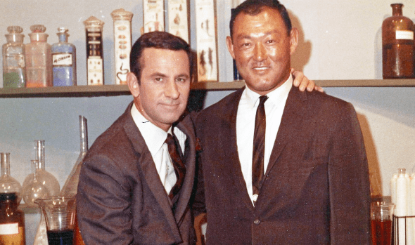 """Bill Saito with Don Adams on the set of """"Get Smart."""""""