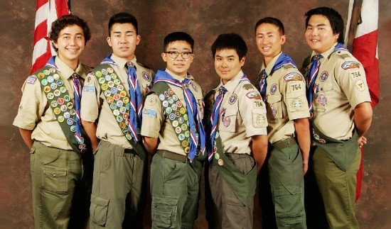 Troop 764's 2014-15 Eagle Scouts, from left: Jeremy Yoshioka, Cameron Kato, Tyson Amano, Justin Kunisaki, Justin Yamaguchi, Kyle Koshimizu.