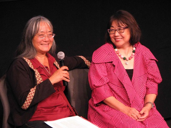 Holly Yasui, Minoru Yasui's daughter, and Peggy Nagae, lead attorney in the reopening of Minoru Yasui's wartime Supreme Court case, gave a presentation at the Japanese American National Museum in September 2014. (J.K. YAMAMOTO/Rafu Shimpo)