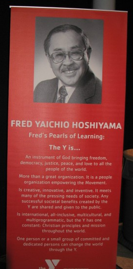 """Fred Hoshiyama's """"Pearls of Learning"""" were displayed at his 100th birthday celebration in Los Angeles. (J.K. YAMAMOTO/Rafu Shimpo)"""