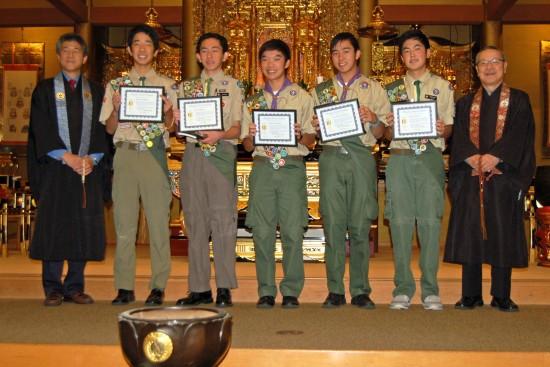 From left: Rev. John Iwohara; Sangha Award recipients Bryce Kitagawa, Scott Mitani, Derek Morimoto, Kai Munekata, and George Ozawa; Rev. Nobuo Miyaji.