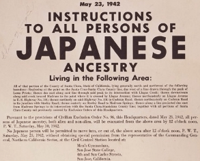 Many Japanese Americans were notified by the above poster that all persons of Japanese ancestry must report to the Civil Control Station located at the men's gymnasium at San Jose State College, now called Yoshihiro Uchida Hall at San Jose State University.