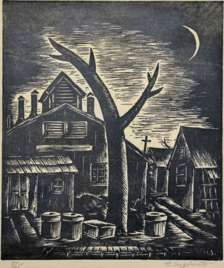 """Henry Sugimoto, """"Twilight (Jerome Camp),"""" woodcut print on paper, Japanese American National Museum, gift of Madeleine Sugimoto"""