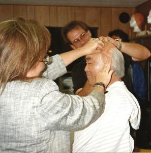 "Fumio Demura in makeup to serve as Pat Morita's stunt double in ""The Karate Kid."""