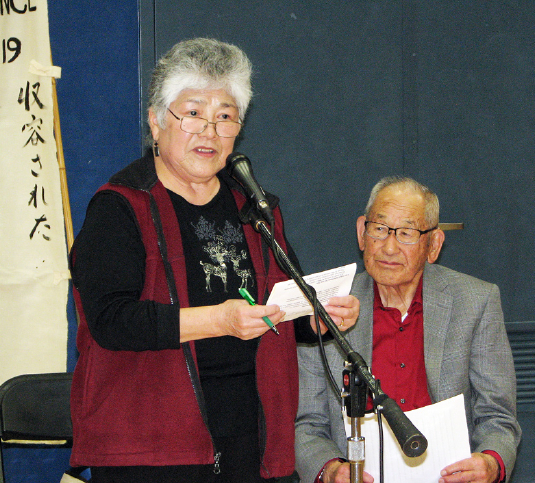 Jimi Yamaichi, who reported for internment at San Jose State College in 1942, was introduced by Aggie Idemoto of the Japanese American Museum of San Jose.