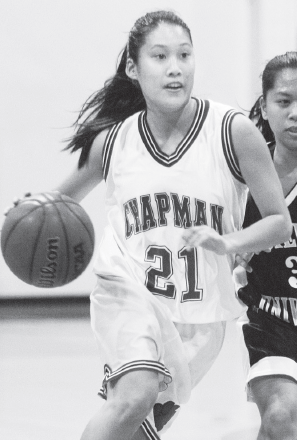 Jessica Kunisaki, seen above in her playing days at Chapman University, is a McClatchy alum who coached the Lady Lions to the 2015 State Championship. (JUN NAGATA/Rafu Shimpo)