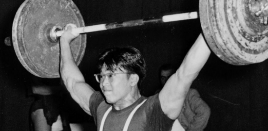 Tommy Kono competing at the 1956 Olympics in Melbourne, Australia.