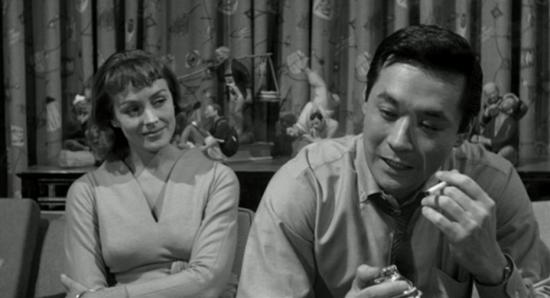 """Victoria Shaw and James Shigeta in a scene from """"The Crimson Kimono."""""""