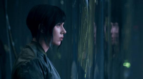 "Scarlett Johannson as Motoko Kusanagi in ""Ghost in the Shell."""