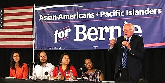 Sen. Bernie with a panel that included (from right) Aparna Shah, Jane Sandoval, Timmy Lu, and Rep. Tulsi Gabbard.