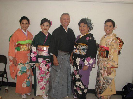 """The cast of """"Misora Hibari: Tribute to a Legend"""" at Orange County Buddhist Church last year. From left: Helen Ota, Fusako Shiotani, Merv Maruyama, Haruye Ioka, Keiko Kawashima. (J.K. YAMAMOTO/Rafu Shimpo)"""