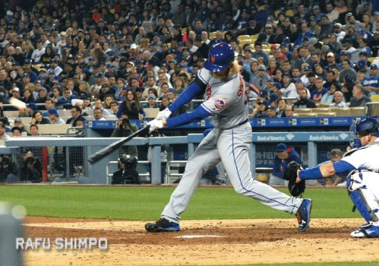 Noah Syndergaard connects for his second dinger, a three-run shot in the fifth inning.