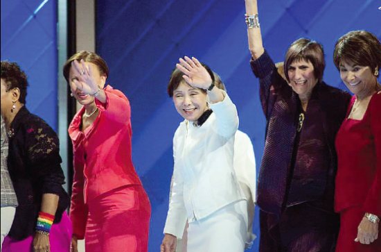 Rep. Doris Matsui (center) waves to delegates at the Democratic National Convention on Tuesday. She was joined onstage by (from left) Reps. Nydia Velazquez, Rosa DeLauro and Anna Eshoo. (Photo by Erin Schaff/DNC)