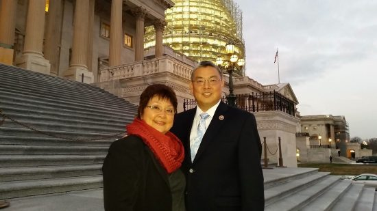 Rep. Mark Takai and his mother, Naomi, on the steps of the U.S. Capitol in December 2015.