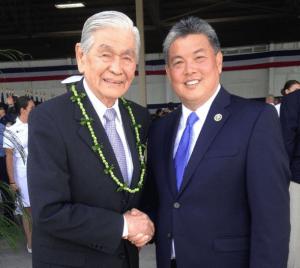 Rep. Mark Takai with former Hawaii Gov. George Ariyoshi in May 2015.